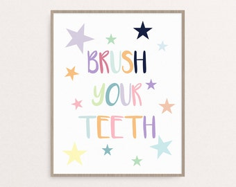 Kids Bathroom Brush Your Teeth Sign, Kids Bathroom Wall Decor, Multi-Colored, Printable, Quote with Stars, 8x10 Print, Digital Download
