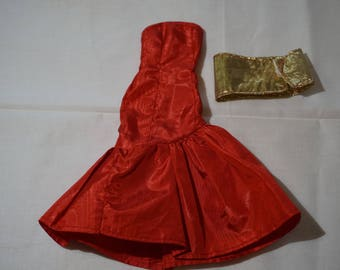 Barbie Doll Dress, Red and Gold