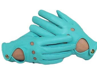 Women's Driving Leather Gloves - Teal  Sheepskin Gloves for driving