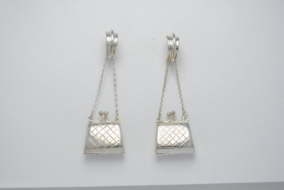 Sterling silver earrings - vintage earrings - dangling earrings - earrings with a bag - Iroquoise