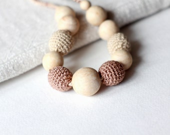 Eco-Friendly Nursing Necklace- Crochet Teething Necklace- Beige Breastfeeding Necklace- Necklace for Mom and Baby