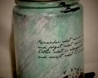 Hand painted Mason jar with quote