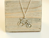Silver Bicycle Necklace, ...