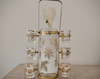 Vintage Midcentury Aldon pump decanter and shot glass caddy, Gold leaves decanter set, Aldon barware