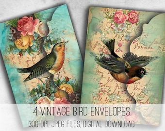 Vintage Birds Envelopes Digital Collage Sheet Download - 1034- Digital Paper - Instant Download Printables