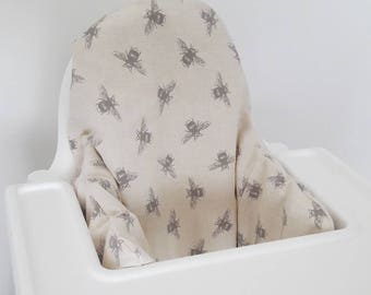 Cushion cover for Antilop IKEA highchair cushion - cushion cover only - neutral bees shabby chic high chair cushion cover MADE to ORDER