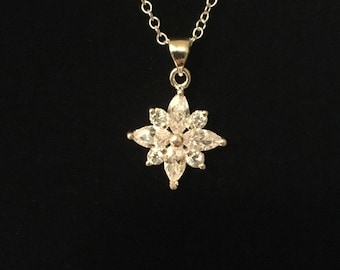 Sterling floral/snowflake silver necklace with diamond rhinestones