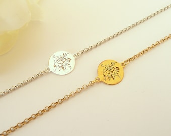 Sterling Silver Rose Flower Bracelet, Dainty Bracelet, Simple Flower Bracelet, Delicate Thin Bracelet, 925 Sterling Silver Jewelry