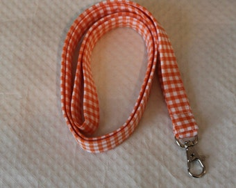 Orange Lanyard / Gingham Lanyards/Key Lanyards/ID Badge Holders/Cute Lanyards/Keychains/Nurse Lanyards /Fabric Lanyards / Gifts for Under 10