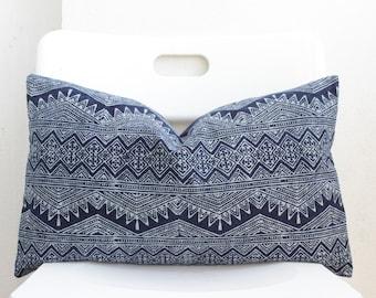 Hmong Batik Indigo Lumbar Pillow Cover