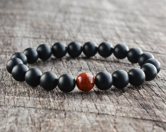8mm Red Jasper Bracelet Matte Onyx Mens Bracelet Black Beaded Bracelet Gemstone Bracelet Womens Yoga Bracelet Handmade Jewelry Gifts