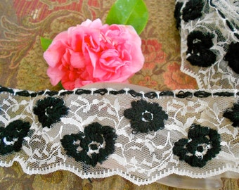Black and White Floral Lace Trim