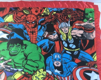 Avengers Marvel Superhero Captain America Hulk Thor Spiderman Ironman fleece blanket baby blanket gift for him