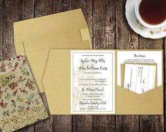 Rustic Pocket Invitations, Eco Kraft, Rustic Wedding, Kraft Wedding