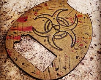 Leather Pick Guard - Ernie Ball Musicman Bass - T Virus - Biohazard - Zombie  - Apocalypse