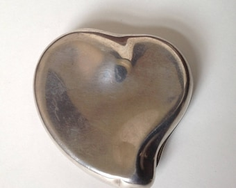 Vintage Halston Heart Compact/Elsa Peretti Design/VTG Powder Compact/Silver Abstract Heart/Mirror Compact/Art Deco Style Compact