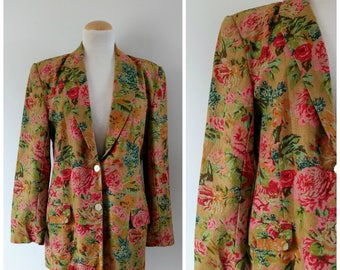 Vintage floral linen blazer jacket, oversize 1980s 80s jacket, medium