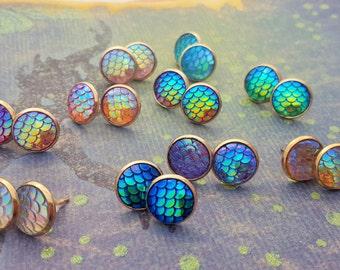 Gold Mermaid Earrings, Mermaid Scales Studs, Mermaid Posts, Mermaid Tail Jewelry, Gold Mermaid Jewellery, Colourful Earrings, Earring Studs