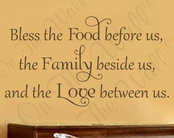 Kitchen Decals Bless The Food Before Us Saying Wall Decal Vinyl Quotes Religious