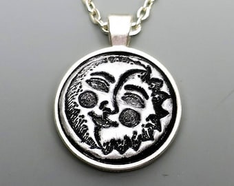 Polymer Clay Pendant, Sun and Moon Celestial Pendant in Metallic Silver and Black, Mother's Day Gift Idea