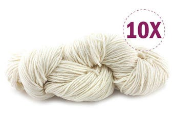 10X Bare Yarn - Worsted | Merino superwash | 110g - 200yds (183m) | Perfect for hat and scarf [WHI]