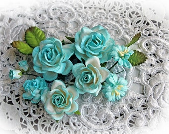 Reneabouquets Roses And Leaves Flower Set-Mulberry Paper Flowerst - Teal And White Set Of 13 Pieces In Organza Storage Bag