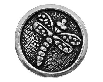 2 TierraCast Dragonfly 5/8 inch ( 16 mm ) Silver Plated Pewter Buttons