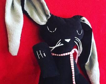 Handsewn lavender velour bunny plush animal
