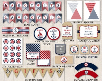 INSTANT DOWNLOAD Printable Nautical Boy Baby Shower Package / Navy and Red / Banner / 12 Items / Nautical Boy Collection / Item #600