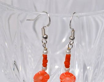 Handmade Vintage Carved Pale Pink and Red Coral, Pearl and Sterling Silver Earrings.