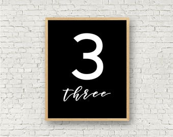 Number Three // Simple 3 Printable // Individual Numbers Wall Art Print // 8x10 // Digital Print File // Numerology Gift // Black and White