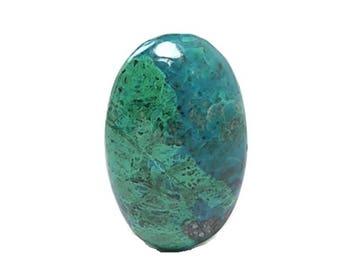Chrysocolla Blue with Green Malachite Semi Precious Copper Jewel, Polished Glossy Semiprecious Gemstone Cabochon Gem Silica Peru