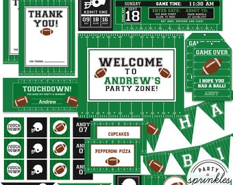Custom Football Birthday Party collection, invitations, Party decorations, Cupcake toppers, Sports Party - Printable Kit