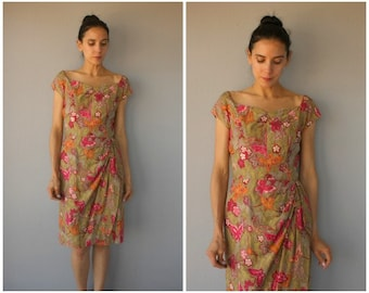 1950s Hawaiian Dress • 50s Sun Dress • 1950s Sarong Dress • Made in Hawaii • 1950s Dress • 50s Hawaiian Dress  - (medium/large)