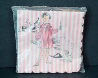 Vintage Paper Napkins Slumber Party Girl Talk Telephone Record Player Pink White Striped Teens Paper Art Company 1950's NOS New in Package