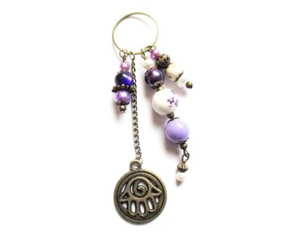 Pendant spiral hand with purple and white beads