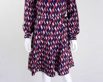 Original Vintage 1970s DL Barron Graphic Print Dress UK Size 10