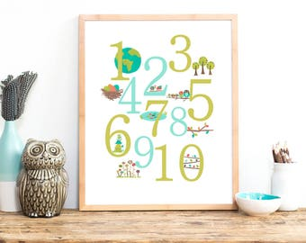 Nature Numbers Wall Art, Digital Downloads, 8x10, 11x14, 16x20, Counting Art Decor, Kid's Room, Gender Neutral Nursery Decor, Wall numbers
