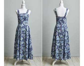 90s Laura Ashley Dress, Blue Floral Sundress