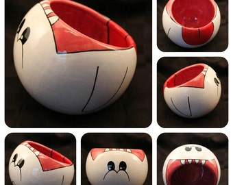 Boo the Ghost Ceramic Tilted Bowl (Made to Order and Customizable)