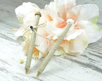 Burlap Wedding Pen for Guest book Rustic Country wedding  Wedding Decor Reception Decoration