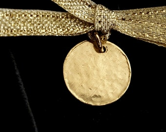 14K Gold Disc Pendant, Personalized Initial Tag, Handmade, Mother Day Gift, Stamped Tag