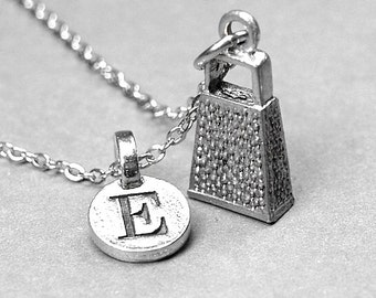 Cheese Grater Necklace Charm small 3D silver plated pewter, initial necklace, initial hand stamped, personalized, monogram