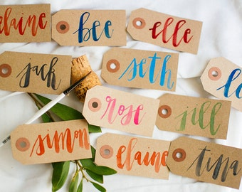 Watercolor Kraft Tags Place Cards   escort cards   wedding & special events   rustic   modern brush calligraphy   gift tags   wedding party