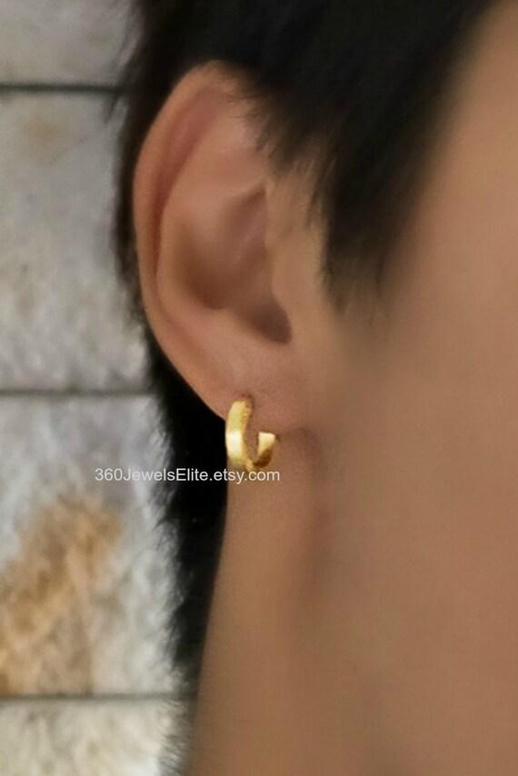 Mens Earrings Gold Huggie Hoops Slim Hoop Earrings