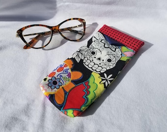 Glasses Case - Day of the Dead, sugar skulls with red and black polka-dot check accents, Sunglasses, Gift for Her