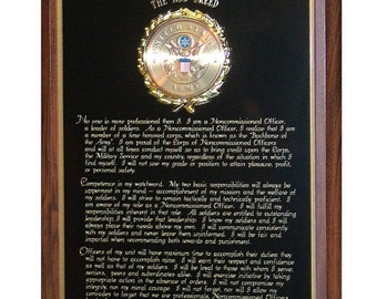 Custom United States Army NCO Creed Plaque - Great Gift or Award