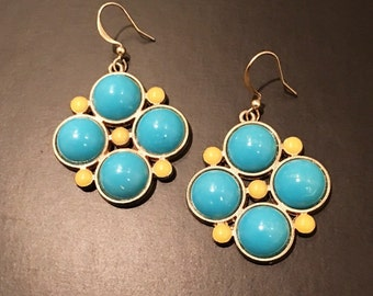 Turquoise Blue & Yellow Gold Tone Dangle Earrings