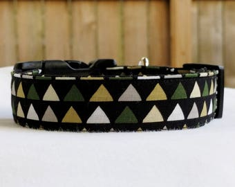 Peaks-Triangles-Adjustable Buckle-Martingale Dog Collar-Small-Large Breed Dog-1 inch 1.5 -2 inch width-Traffic-Dog Leash