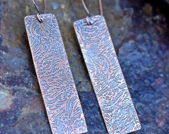 Etched Copper Dangle Earrings-boho-minimalist